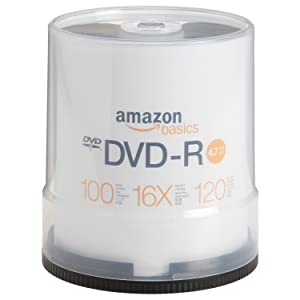 AmazonBasics 4.7 GB 16x DVD-R (100-Pack Spindle)