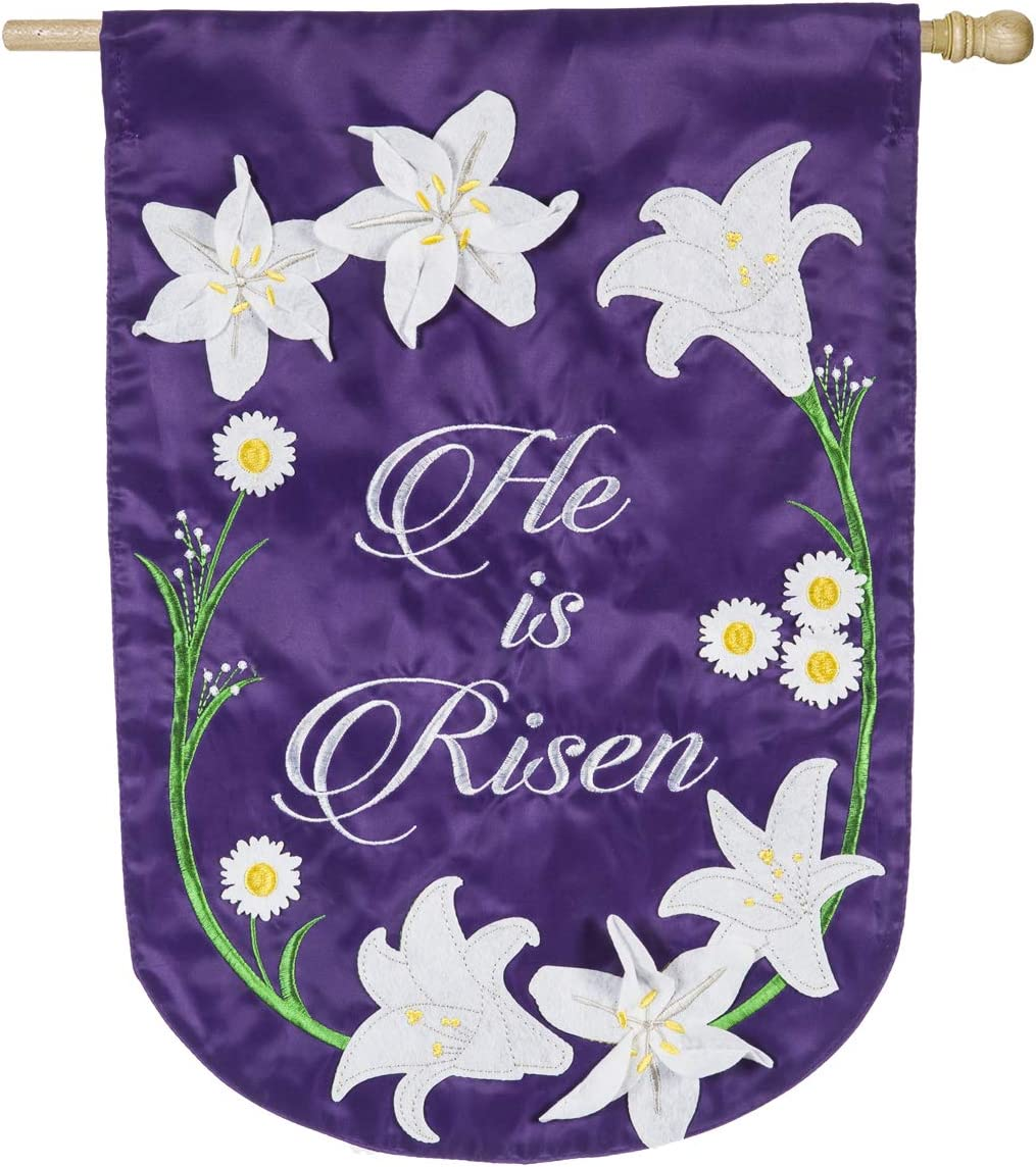 Easter Lily House Applique Flag - 28 x 1 x 44 Inches