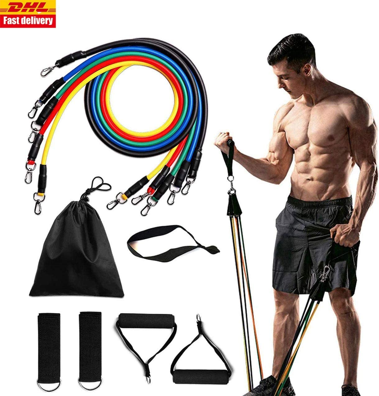 11pcs Fitness Resistance Bands Gym SetTubes with Handle Door Anchor Ankle Strap