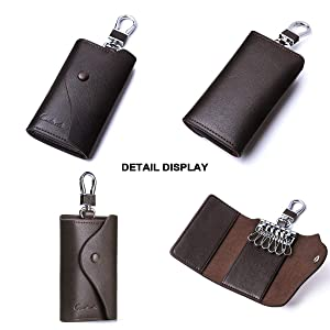 Contacts Men Genuine Leather Car Key Case ID Card Holder with Keyring Keychain Coffee (Color: Coffee, Tamaño: one size)