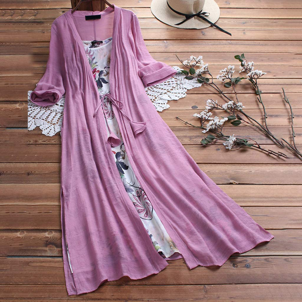 Lloopyting Women's Loose Plain Casual Large-Scale Dress Chiffon Sleeve Ruched Soft Fitted Summer T Shirts Long Dress Pink by Lloopyting (Image #1)