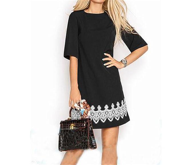 b883cd8e0f5 Chiffoned Summer Dress 2018 Women Fashion Casual Mini Lace Dress Black  White Short Sleeve T Shirt Dresses Plus Size at Amazon Women s Clothing  store