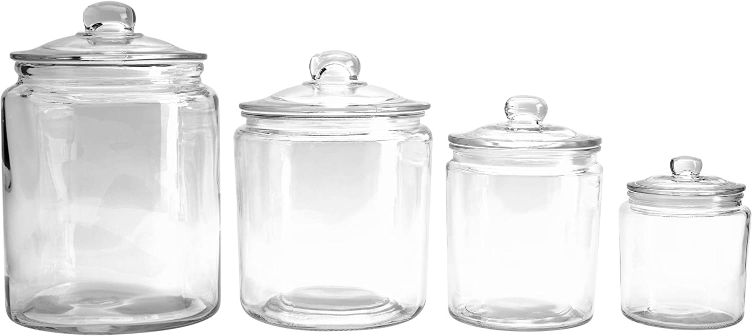 Mason Craft & More Airtight Kitchen Food Storage Clear Glass Pop Up Lid Canister, 4 Piece Glass Heritage Canister Set (1 Liter, 2 Liter, 4 Liter, and 5.6 Liter)