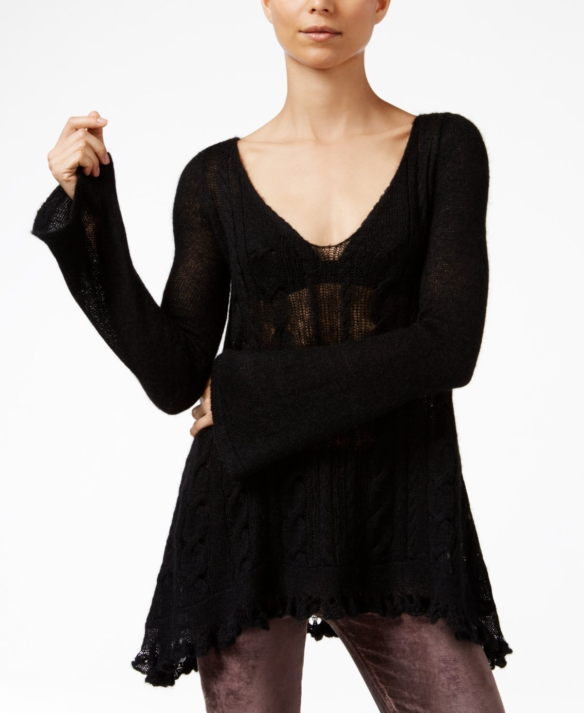 Free People Women's Waterfall V-neck Pullover Sweater (Medium, Black) by Free People