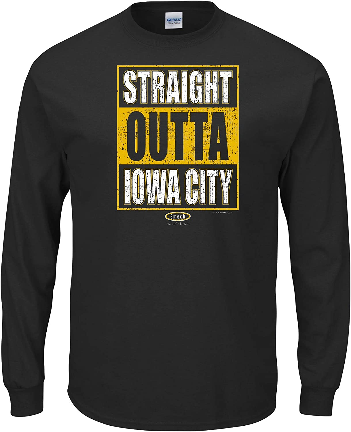 Straight Outta Iowa City Smack Apparel Iowa Football Fans Sm-5X Black T Shirt
