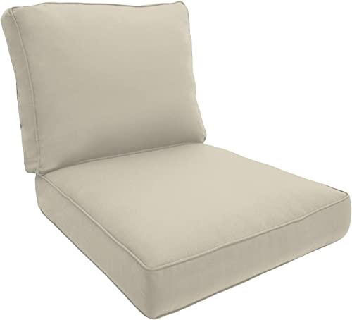 Easy Way Products Double Piped Sewn Closed Deep Seating Lounge, 26 L x 5 H x30 W, Fresco Natural