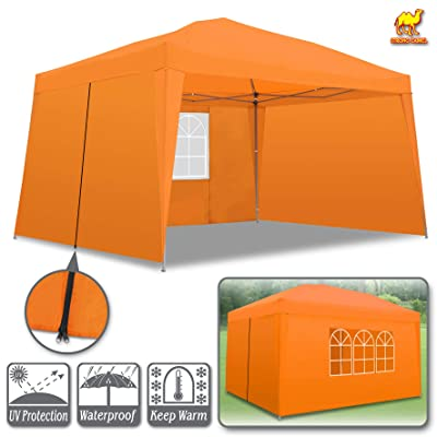 Strong Camel Ez Pop-up Canopy Party Instant Tent Outdoor 10'x13' Folding Gazebo W/ 4 Removable Sidewalls and Carry Bag (Orange) : Garden & Outdoor