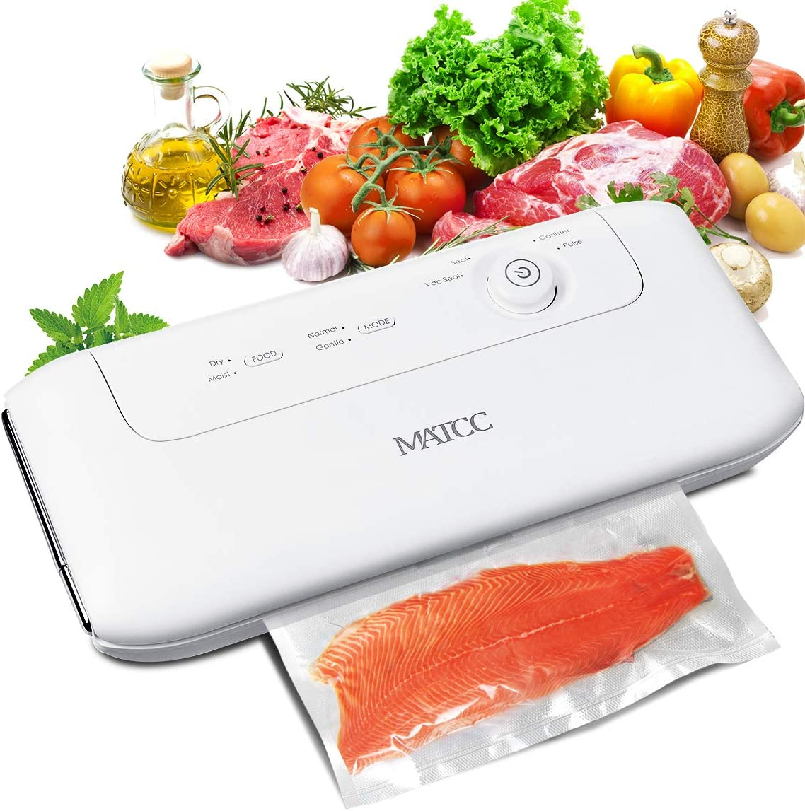 MATCC Vacuum Sealer Machine Automatic Manual Vacuum Sealing Machine for Food Sealer with Built-in Cutter and Replaceable Sealing Strip One-knob Button Sealing System Dry Moist Vacuum Packing Machine