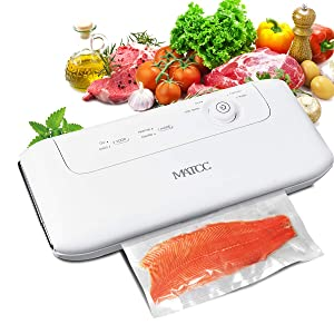 MATCC Vacuum Sealer Machine Automatic/Manual Vacuum Sealing Machine for Food Sealer with Built-in Cutter and Replaceable Sealing Strip One-knob Button Sealing System Dry & Moist Vacuum Packing Machine