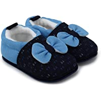 Superminis Baby Girls and Baby Boys Cotton Printed Thick Base Booties/Shoes with Bow