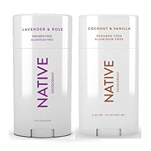 Native Deodorant - Natural Deodorant For Women and Men - 2 Pack - Aluminum Free, Free of Parabens - Contains Probiotics - Coconut & Vanilla And Lavender & Rose