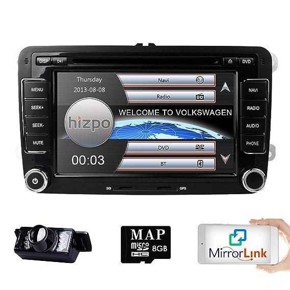 Hizpo Hd 7 Inch Double Din Car Stereo Gps Dvd Navi For Vw Golf Polo Passat Tiguan Jetta Eos Us Map Camera Capacitive Screen