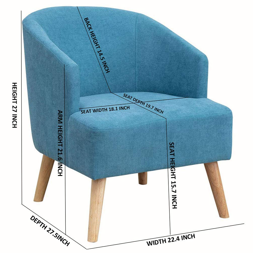 Groovy Upholstery Modern Design Fabric Accent Chair Loveseat Leisure Small Sofa With Natural Wooden Legs Blue Chair Pdpeps Interior Chair Design Pdpepsorg
