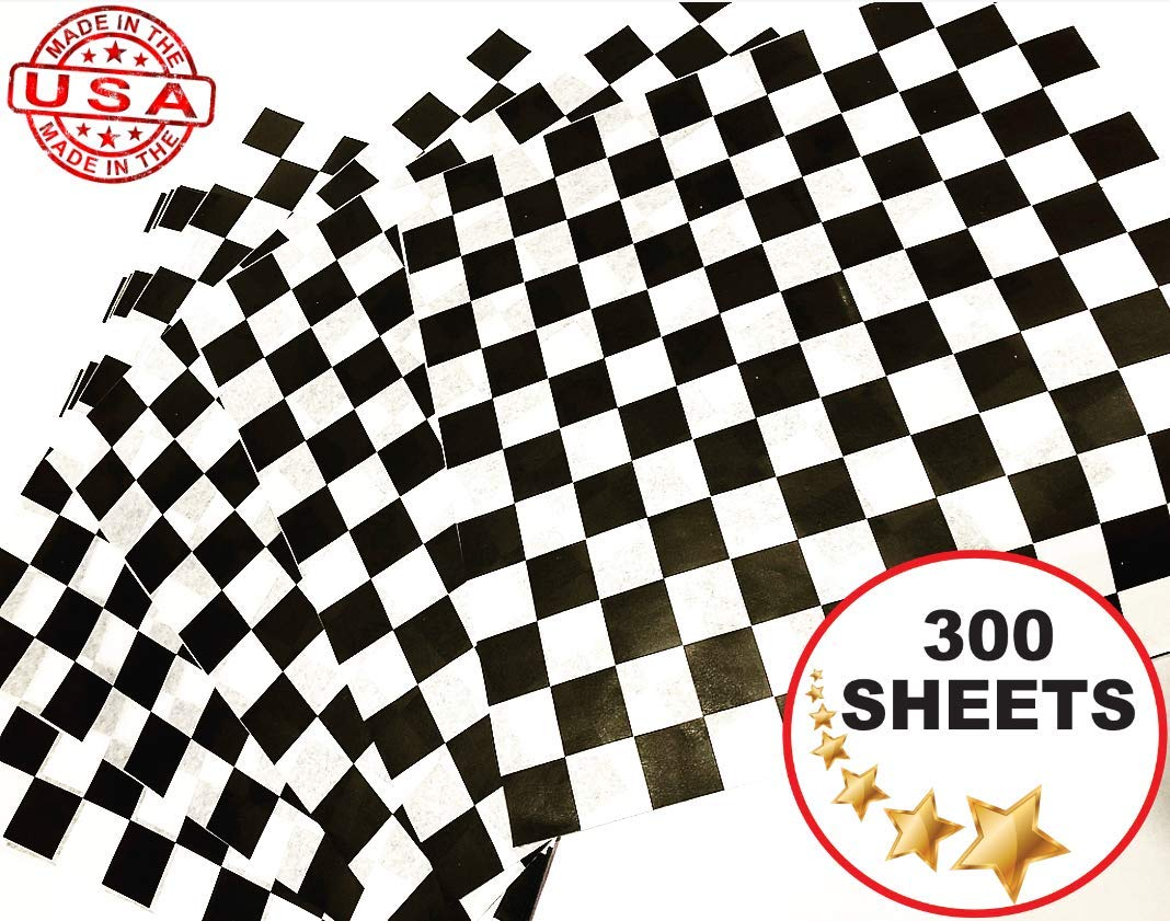 Checkered Wax Paper Black 12x12 300 Sheets Sunshine Paper Corp.