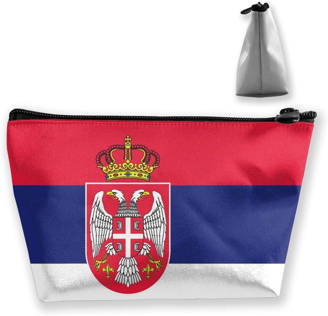 Trapez-Aufbewahrungstasche f/ür Damen Tragbare Kosmetiktasche gestreift gewellt serbische Flagge multifunktionaler Druck