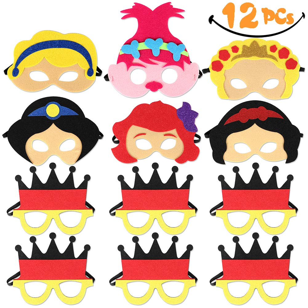Princess Felt Masks Prince Masks 12 Pack Party Supplies for Kids Girls Boys ANNTOY
