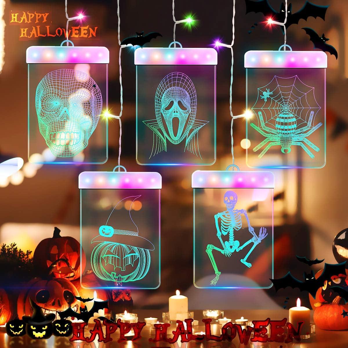 3D LED Halloween Lights Outdoor Indoor, Jhua Halloween Fairy Hanging Lights Outdoor String Lights USB Window Curtain Lights Waterproof Halloween Decor Light for Home Bedroom Window Wall, Multicolor