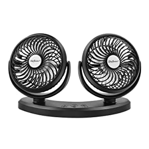 SkyGenius Dual Head USB Powered Car Cooling Fan, 3 Speed Adjustable Auto Fan for Car SUV RV Boat Truck Vehicles Golf, Mini Desk Fan Home Office(5V, 2A)
