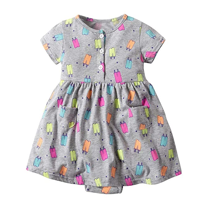 Amazon.com: Hatop Toddler Kid Baby Girl Short Sleeve Floral Dress ...