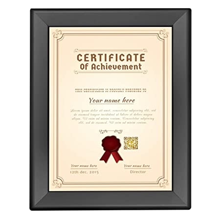 SnapeZo Double-Sided Diploma Frame 8.5×11 Inches, Black 1.25 Inch Aluminum Profile, Front-Loading Snap Frame, Wall Mounting, Professional Series