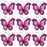 FUNLAVIE 50pcs Papillons de Bas de Maille Scintillants - Rose shocking
