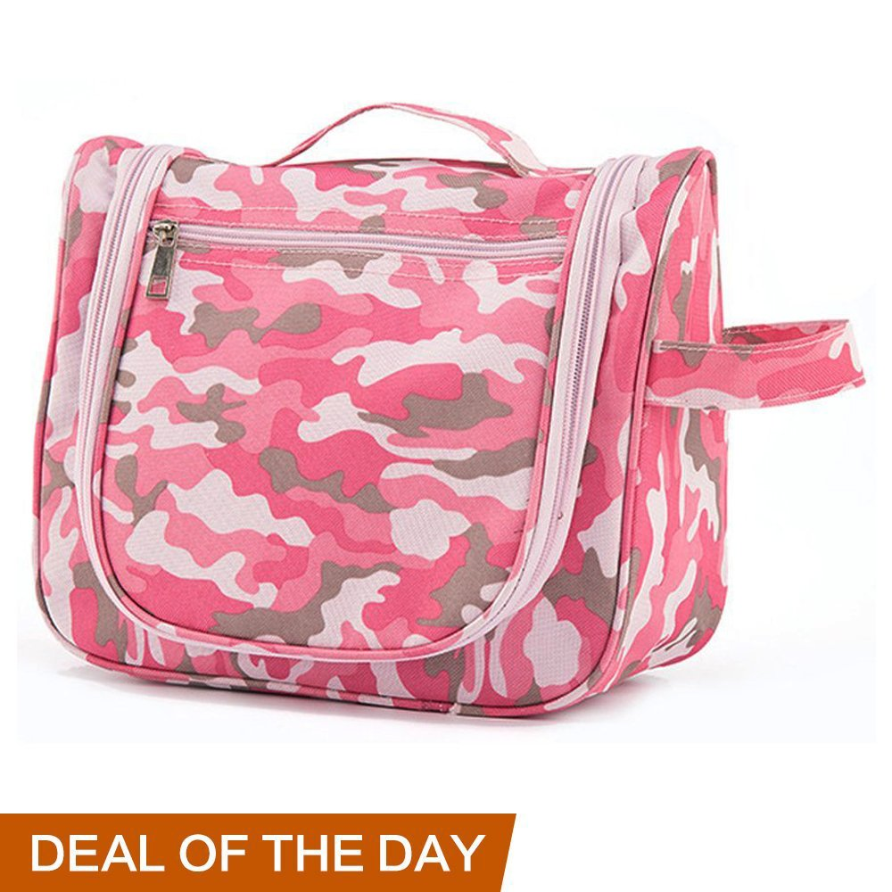 Toiletry Bag for Women Men Kids -Waterproof Hanging Toiletries Kit for Makeup, Cosmetic, Shaving, Travel Accessories, Personal Items - Use in Hotel Car Home Bathroom Airplane (Camo-Pink)