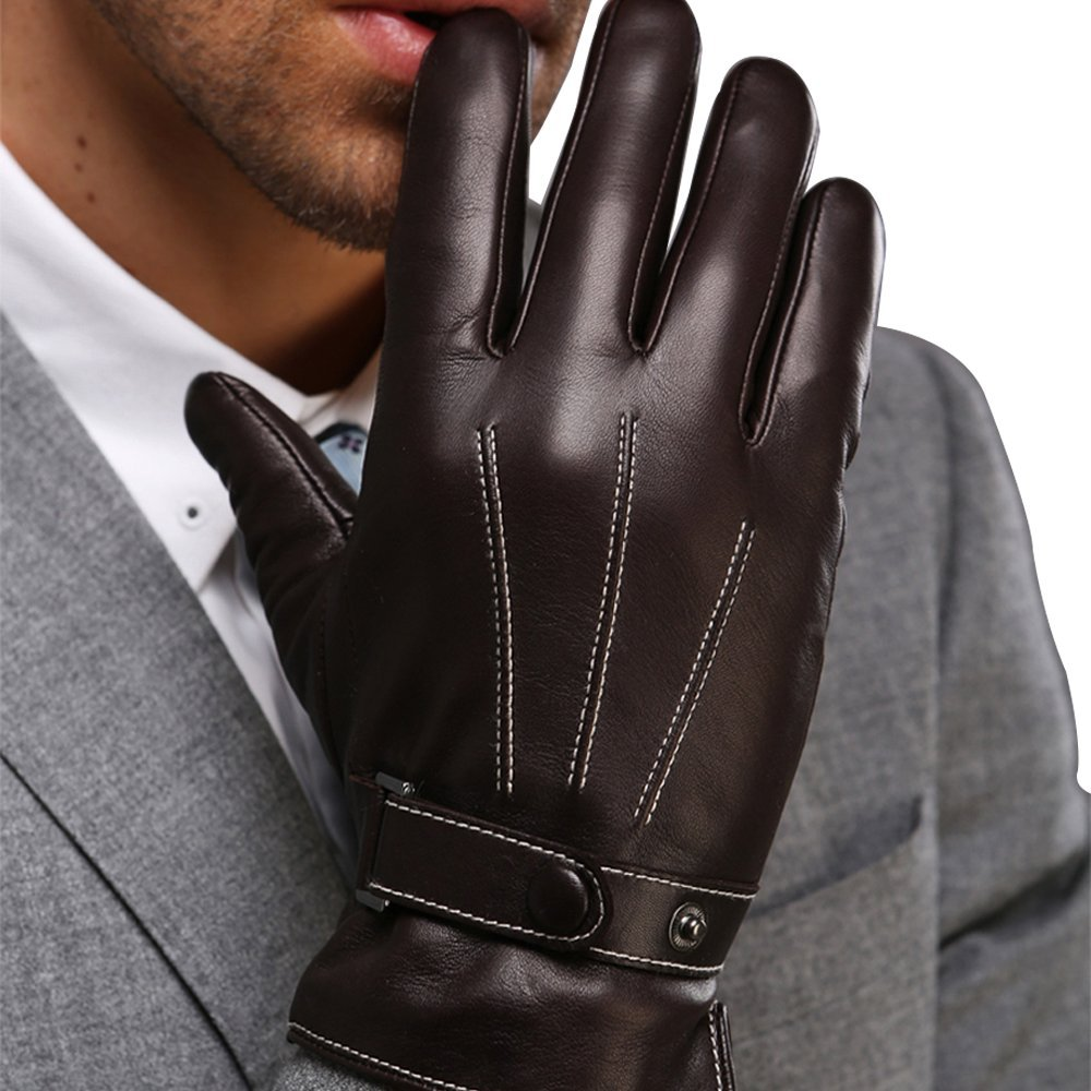 leather gloves cashmere blended business touch screen gloves winter skiing
