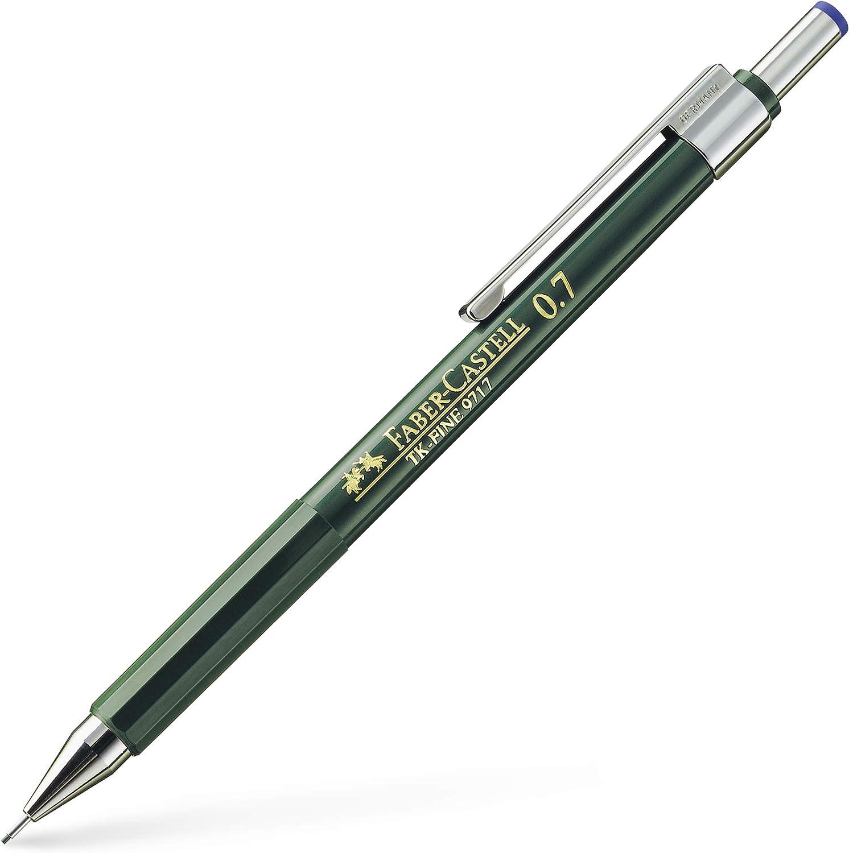 Faber Castell B-136700 - Portaminas TK-Fine con goma de borrar y 3 minas finas graduación HB, trazo 0.7 mm color negro