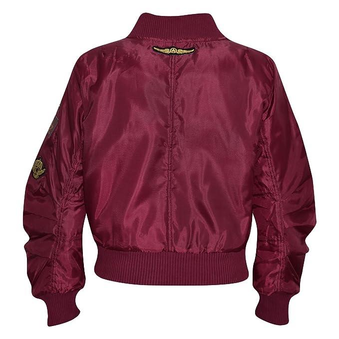 9acbd8006 Kids Jacket Girls Boys Badges Print Bomber Padded Zip Up Biker Jacktes MA 1  Coat