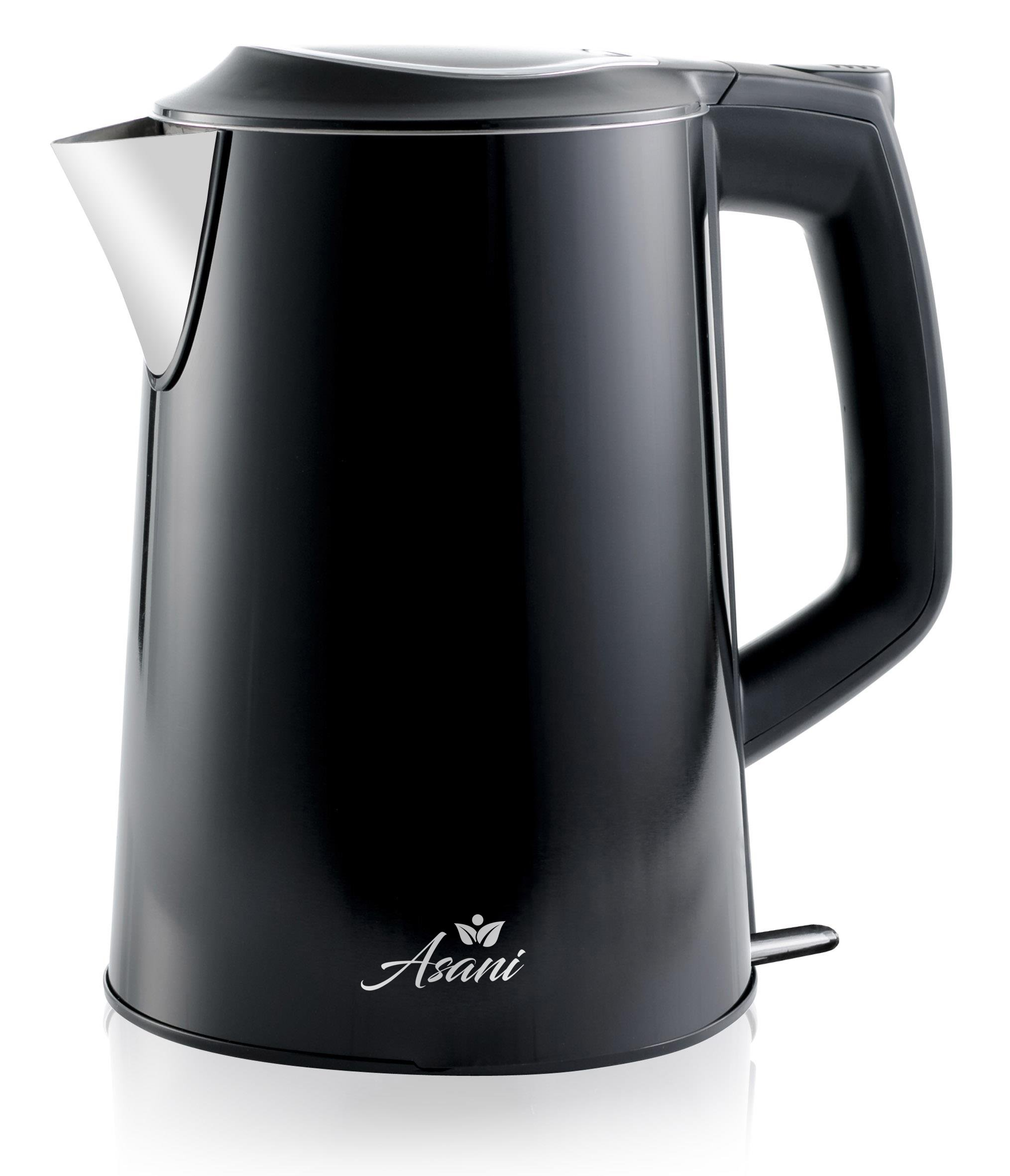 Double Wall Safe Touch Electric Kettle | Stainless Steel with 100% Plastic-Free Interior | Cordless Electronic Hot Water Heater Pot with Cool Touch, Boil Dry Protection & More(1.9Qrt/1.8L)(Black)