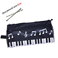 Waterproof Zipper Large capacity stationery Pen Pencil Bag for student or Business people with 2pcs free pencil gift. (Music Black)