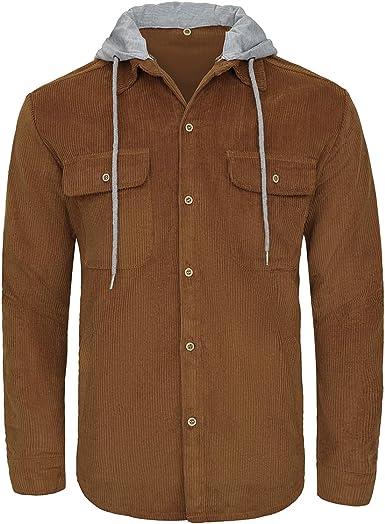 FTIMILD Camisa de pana, de manga larga, con botones, estilo vintage, con capucha