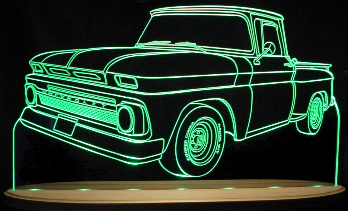 1965 Chevy Pickup Truck C10 Awesome 21'' Acrylic Lighted Edge Lit LED Sign Light Up Plaque 65 VVD1 Full Size USA Original by ValleyDesignsND