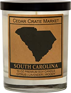 South Carolina Kraft Label Scented Soy Candle, Citrus, Lavender, Woody, 10 Oz. Glass Jar Candle, Made in The USA, Decorative Candles, Going Away Gifts for Friends, State Candles