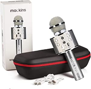 mockins Wireless Bluetooth Karaoke Microphone with Built In Bluetooth Speaker All-in-One Karaoke Machine   Compatible with Android & Ios Iphone - Silver Color