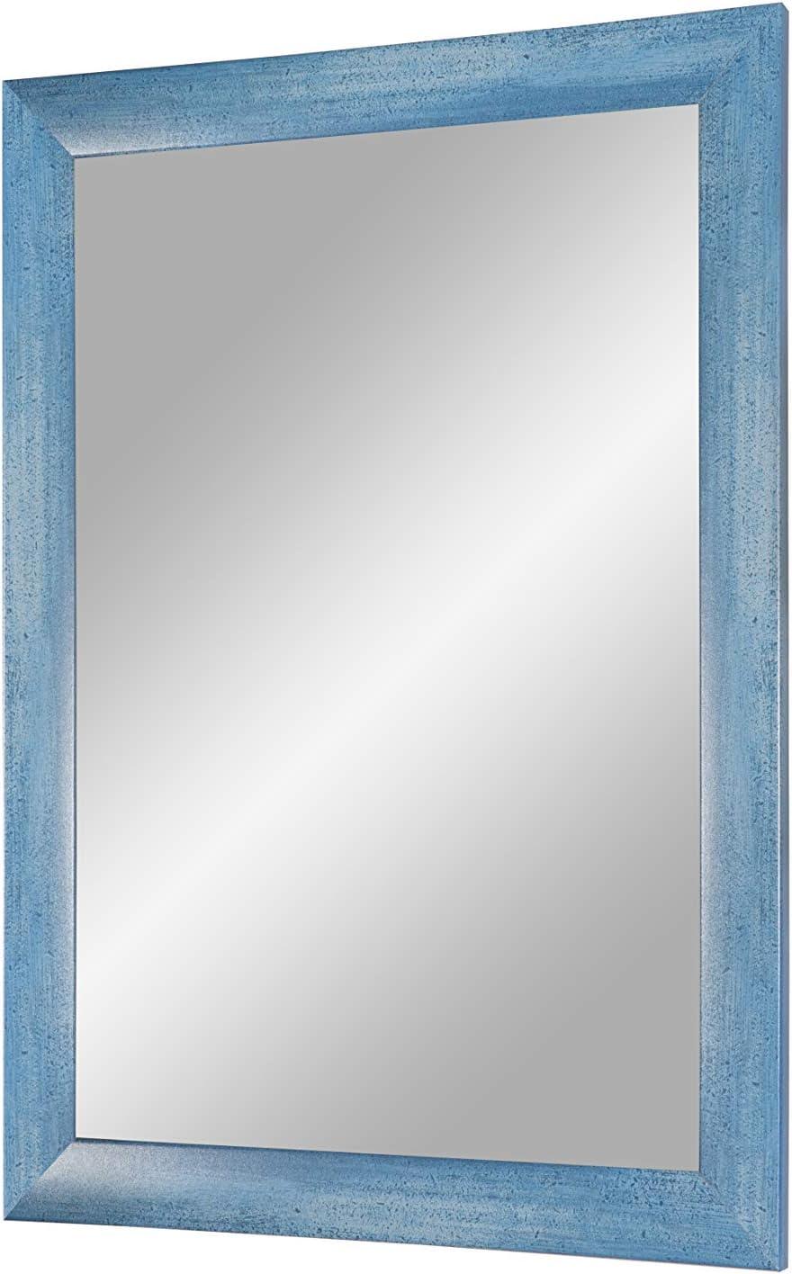 Duisburger-Rahmen24 Flex 35 Specchio da Parete con Cornice Azzurra su Misura 30 x 30 cm Azzurro Au/ßenma/ß con Cornice in Legno MDF da 35 mm Cornice con Specchio e Dorso Stabile con Ganci
