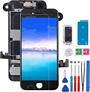 Screen Replacement for iPhone 8 / SE 2020, CYKJGS 4.7 inch LCD Display Touch Screen Digitizer Full Assembly with Screen Protector, Front Camera, Ear Speaker and Proximity Sensor, Black