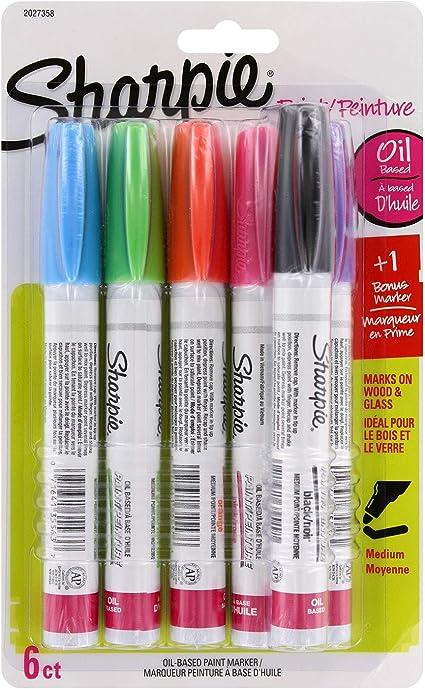 Medium Point 5-Count Plus Bonus Marker Sharpie Oil-Based Paint Markers Assorted Fashion Colors