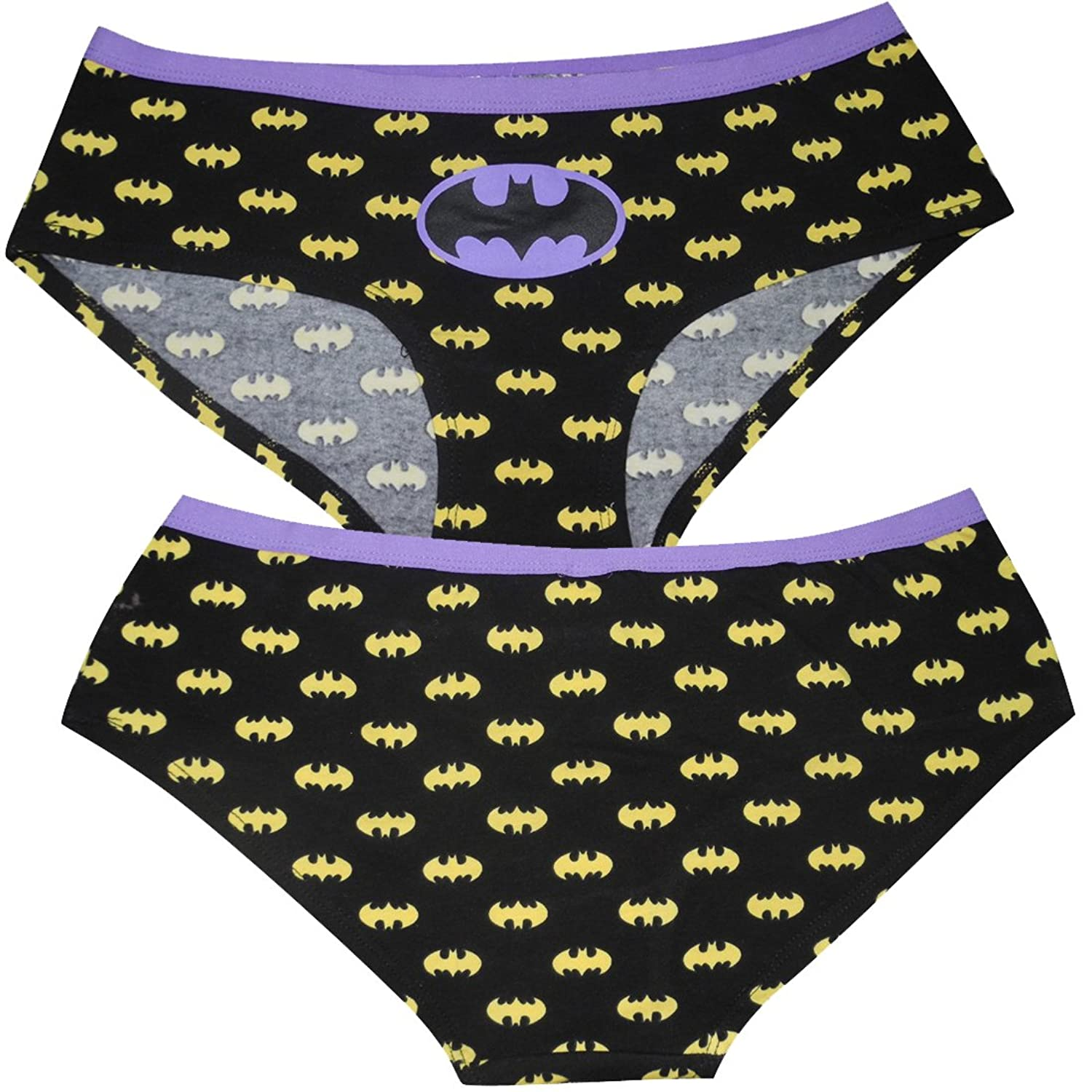 (Pack of 3) Womens BATGIRL & WONDER WOMAN Stretch Brief Panties