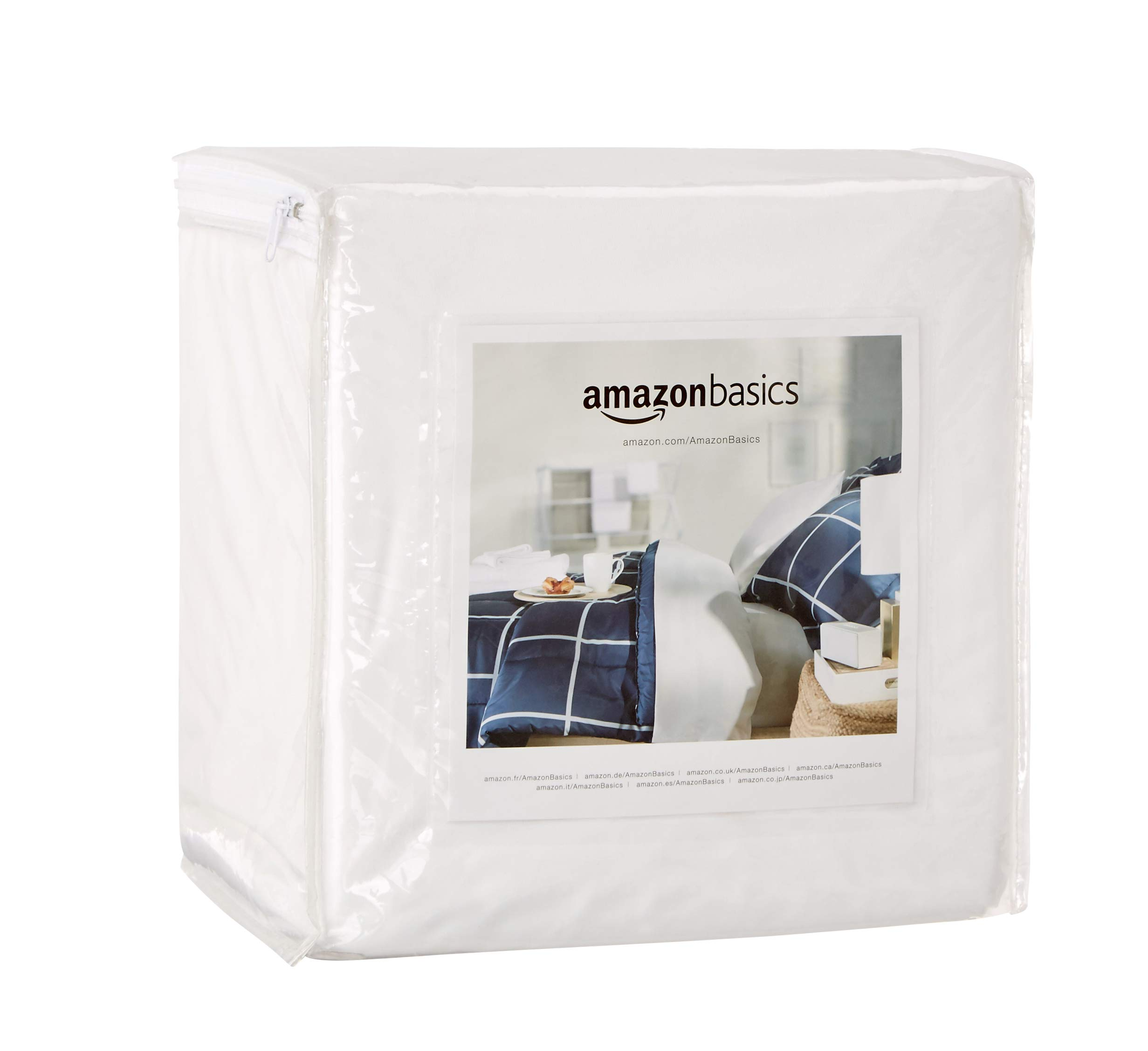 AmazonBasics Fully-Encased Waterproof Mattress Protector - Twin XL, Low Profile 9 to 12-Inch Depth