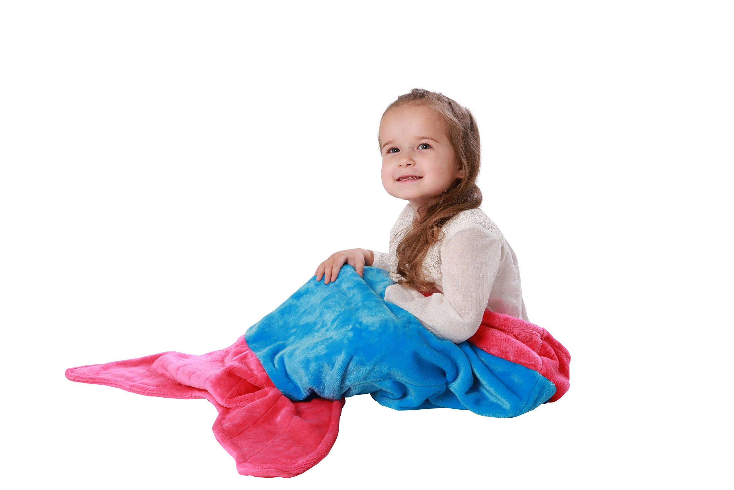 Cuddly Blankets Mermaid Tail Blanket for Toddler Girls Age 1-4 - Super Soft and Warm Minky Fabric Material Sleeping Blanket and Toy for Toddler Kids by (Ocean Blue & Hot Pink)
