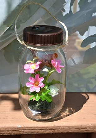Solar Glass Hanging Jar With Flowers And Butterfly Outdoor LED Garden Decor  Light