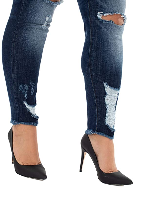 KanCan Jeans Sharon-Acadia Mid-Rise Distressed Ripped Skinny Jeans KC5056LD