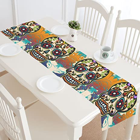 Amazon.com: InterestPrint Mexico Sugar Skull Table Runner Home Decor ...
