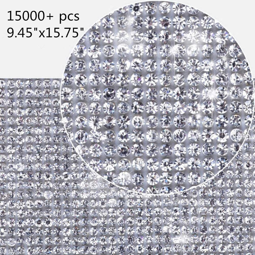 15000pcs Bling Rhinestone Diamond (2x2mm) Crystal Stciker DIY for Car Cellphone Beauty Gift Pad Cake Vase Decoration Party Supplies Scrapbooking Embellishments (Transparent 9.45x15.75 inch)