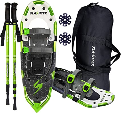 14 //21// 25// 30 Light Weight Aluminum Alloy Terrain Snow Shoes with Trekking Poles and Carrying Tote Bag Carryown 3-in-1 Xtreme Lightweight Terrain Snowshoes for Adults Men Women Youth Kids