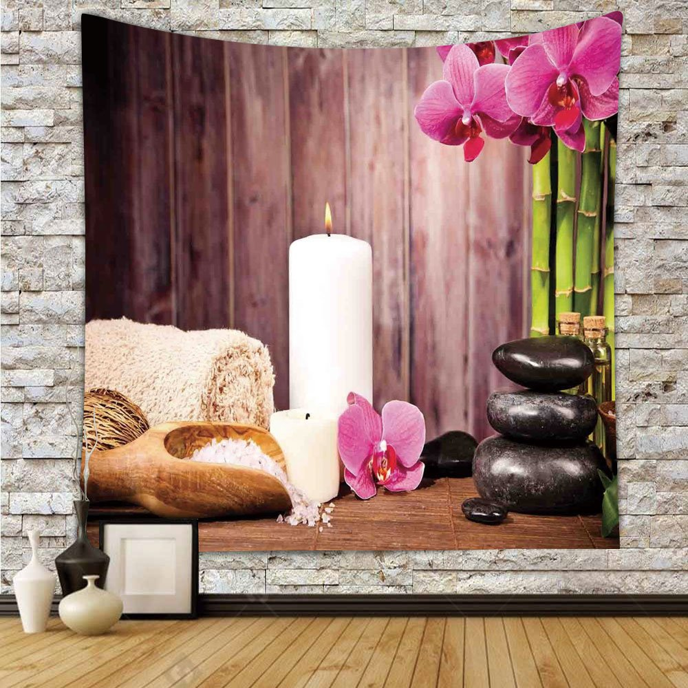iPrint Polyester Tapestry Wall Hanging,Spa Decor,Spa Candlelight Plants Wooden Wall Sea Salt Treatment Freshness Relaxing,Wall Decor for Bedroom Living Room Dorm