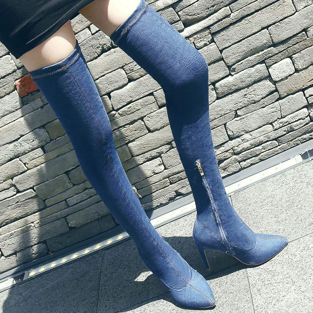 Damen Langschaftstiefel Mumuj Elegant Cowboy Blau Soft