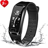 Blood Pressure Bracelet Fitness Tracker - Newyes S4Plus Smart Watch with SPO2H Heart Rate Monitor Sleeping Management Pedometer with OLED Touch Screen for Android iOS, Military Time Available (Black)