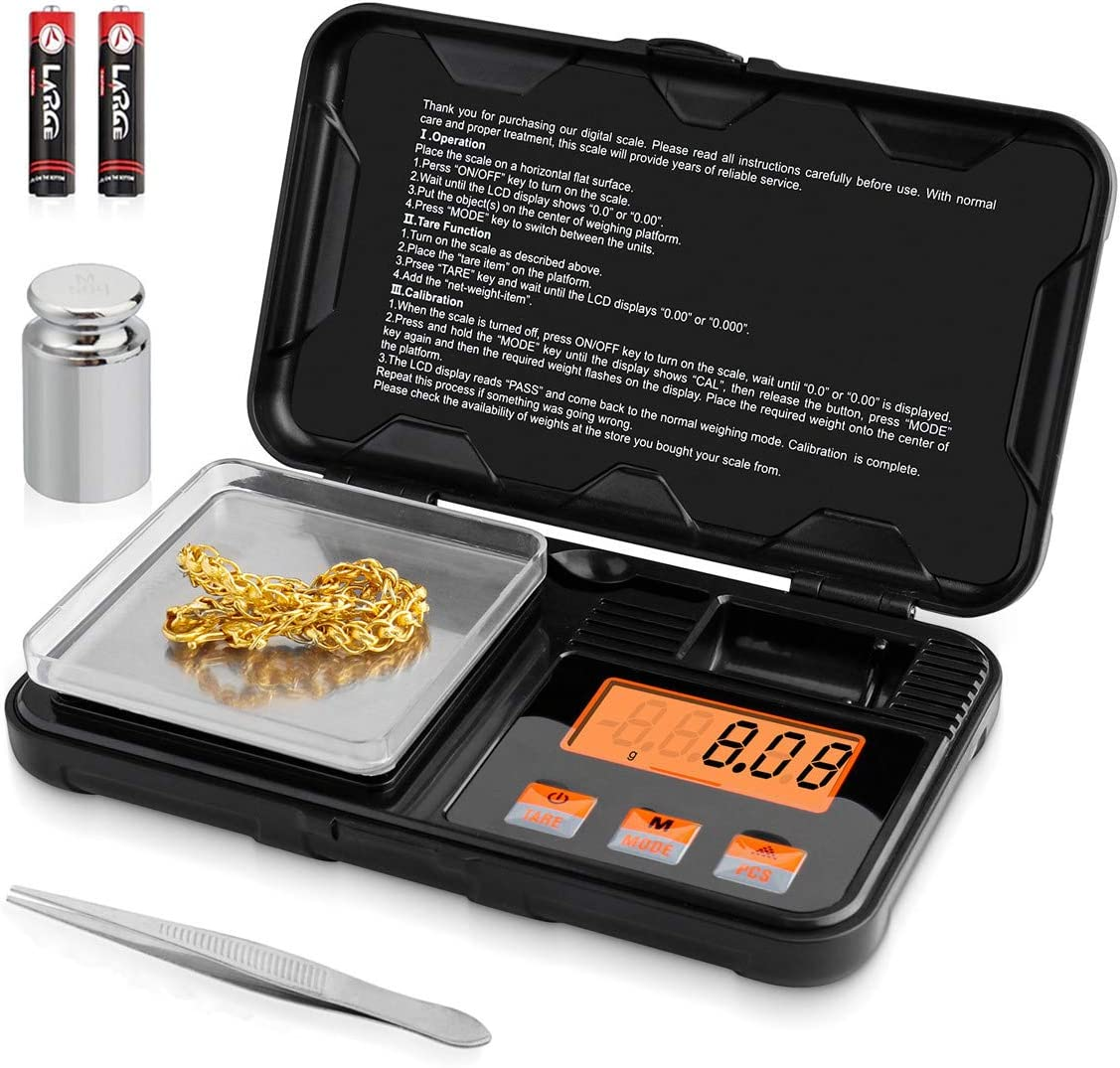 Digital Scale Mini Pocket Scale 200g x 0.01g Gram Scale with 6 Units Conversion, 50g Calibration Weight, LCD Back-Lit Display, Use for Jewelry/Medicine/Food/Powder(Tweezers Tray Battery Included)